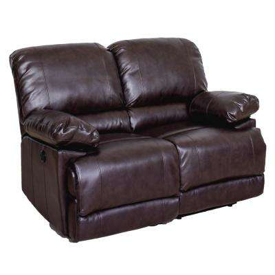 Lea Chocolate Brown Bonded Leather Power Reclining Loveseat with USB Port