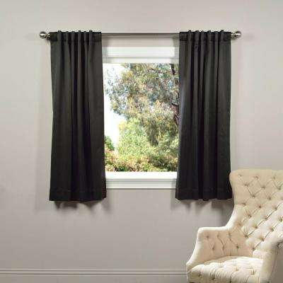 Semi-Opaque Jet Black Blackout Curtain - 50 in. W x 63 in. L (Panel)