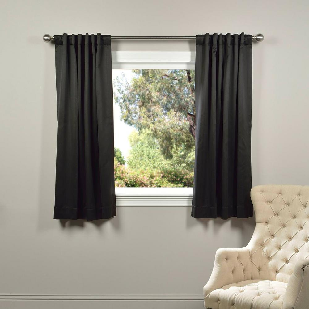 Semi-Opaque Jet Black Blackout Curtain - 50 in. W x 63