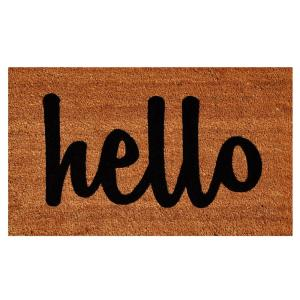Home & More Hello Natural/Black Script 24 inch x 36 inch Door Mat by Home & More