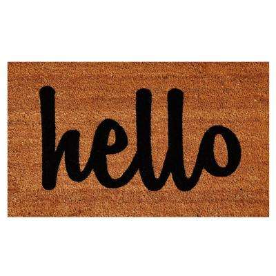 Hello Natural/Black Script 24 in  x 36 in  Door Mat