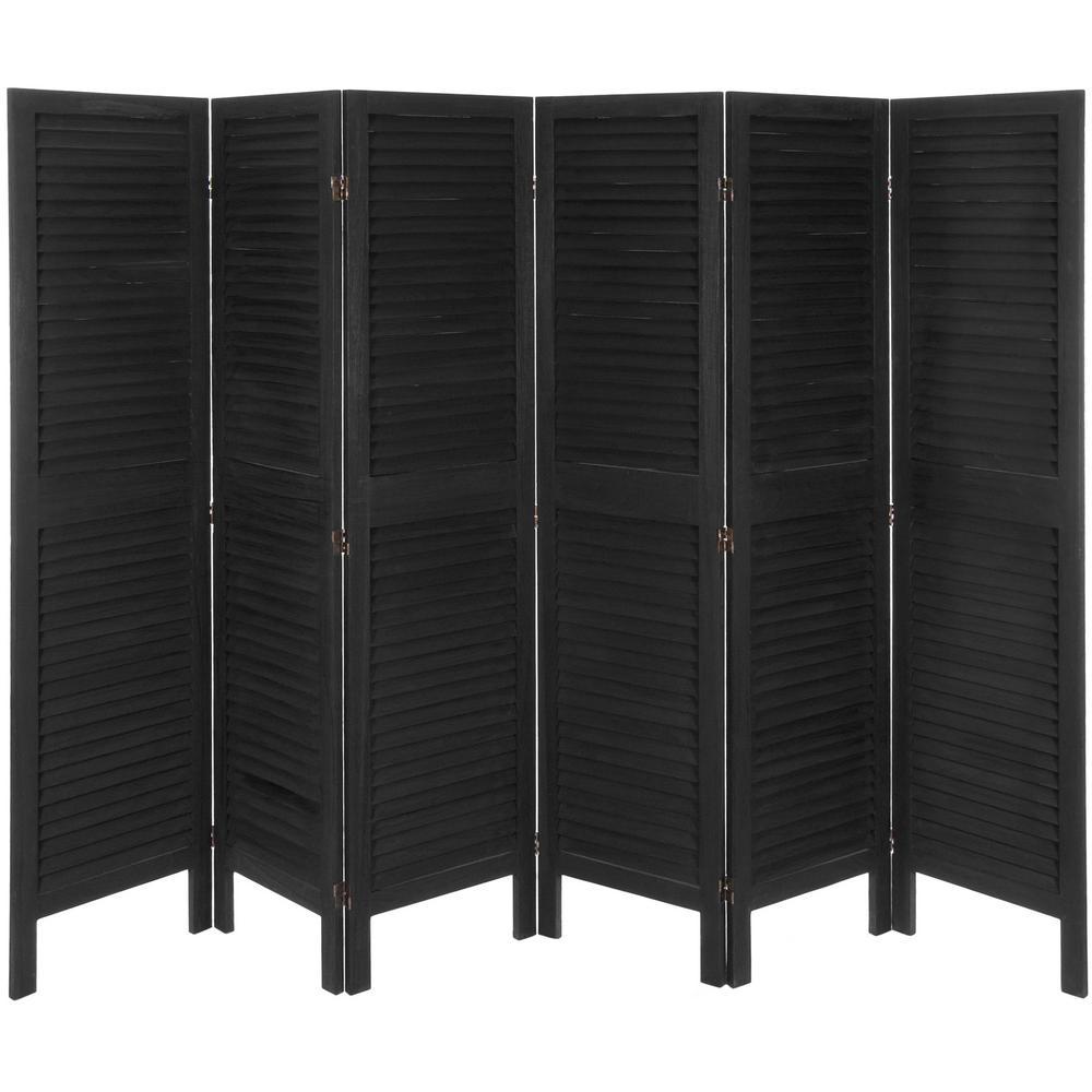 6 ft. Black Classic Venetian 6-Panel Room Divider
