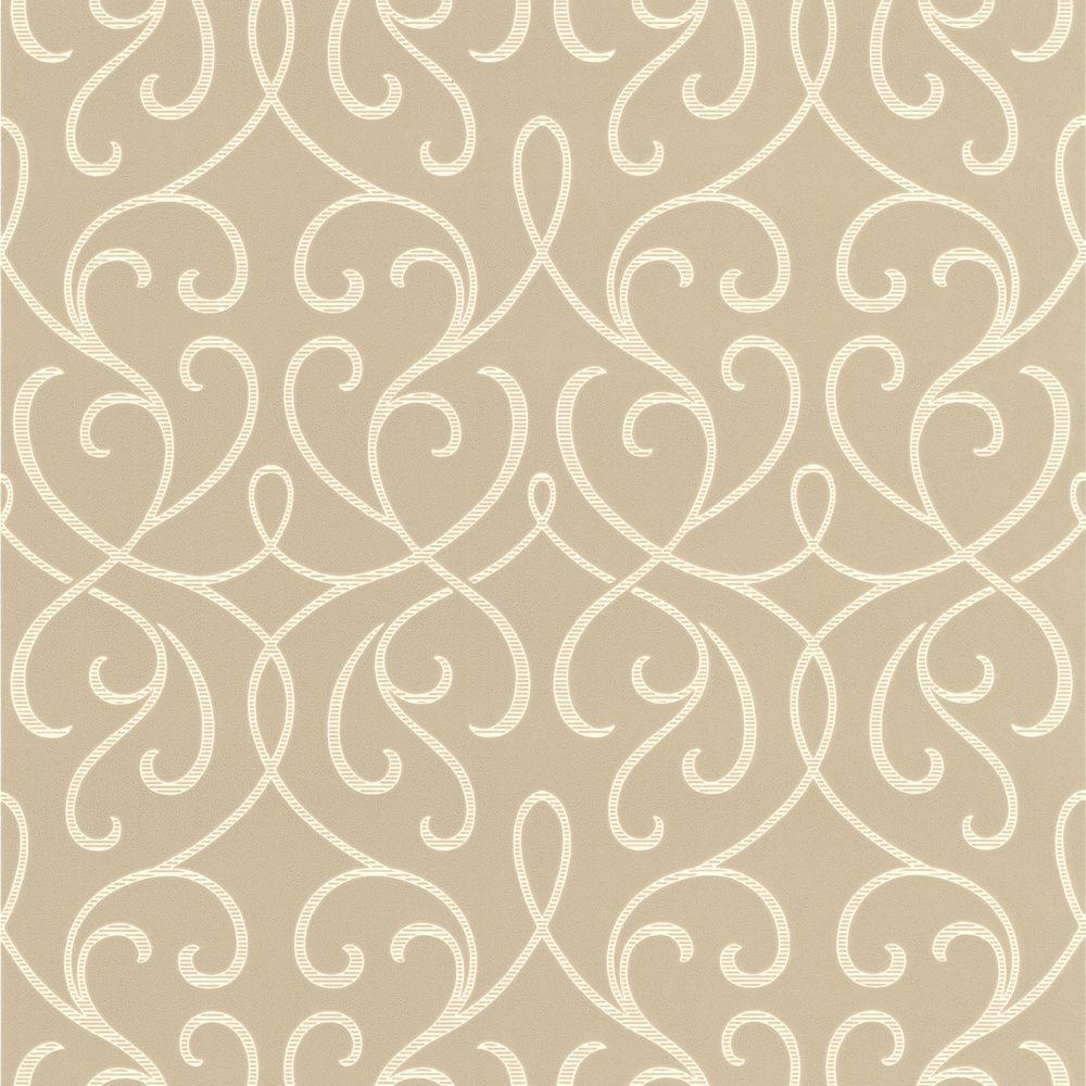 Aloutte Taupe Mod Swirl Wallpaper