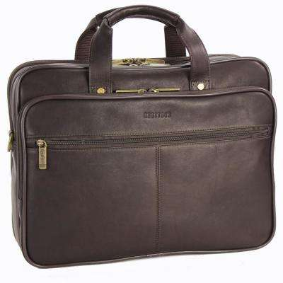 Colombian Leather Double Compartment Top Zip 16.0 in. Computer Portfolio/Business Case