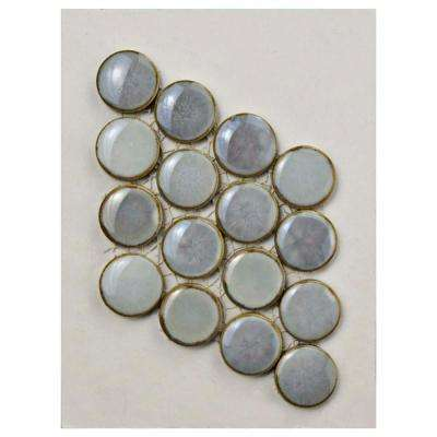 Hudson Penny Round Grey Eye Porcelain Mosaic Tile - 3 in. x 4 in. Tile Sample