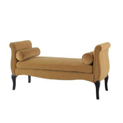 Olivia Roll Arm Entryway Bench Gold