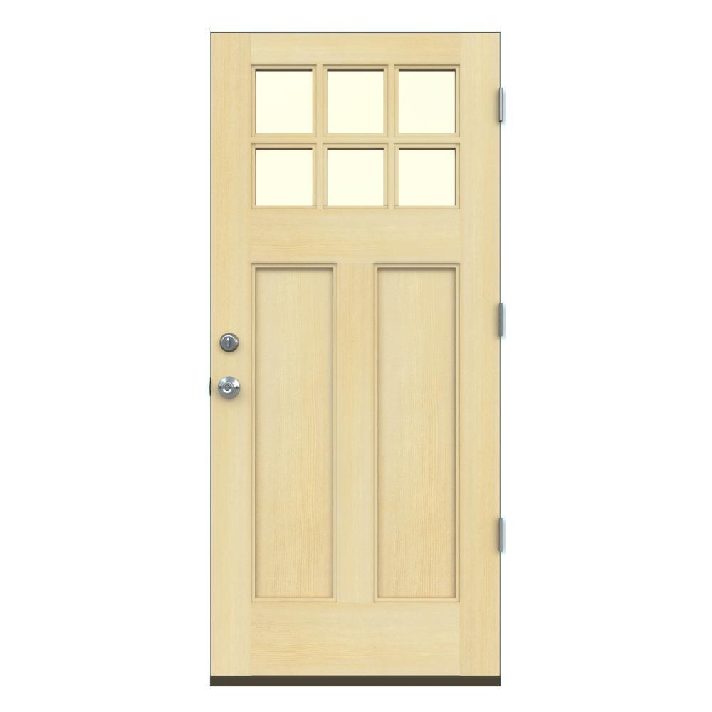 Jeld Wen 36 In X 80 In Craftsman Unfinished Left Hand 6 Lite Clear Wood Prehung Front Door W