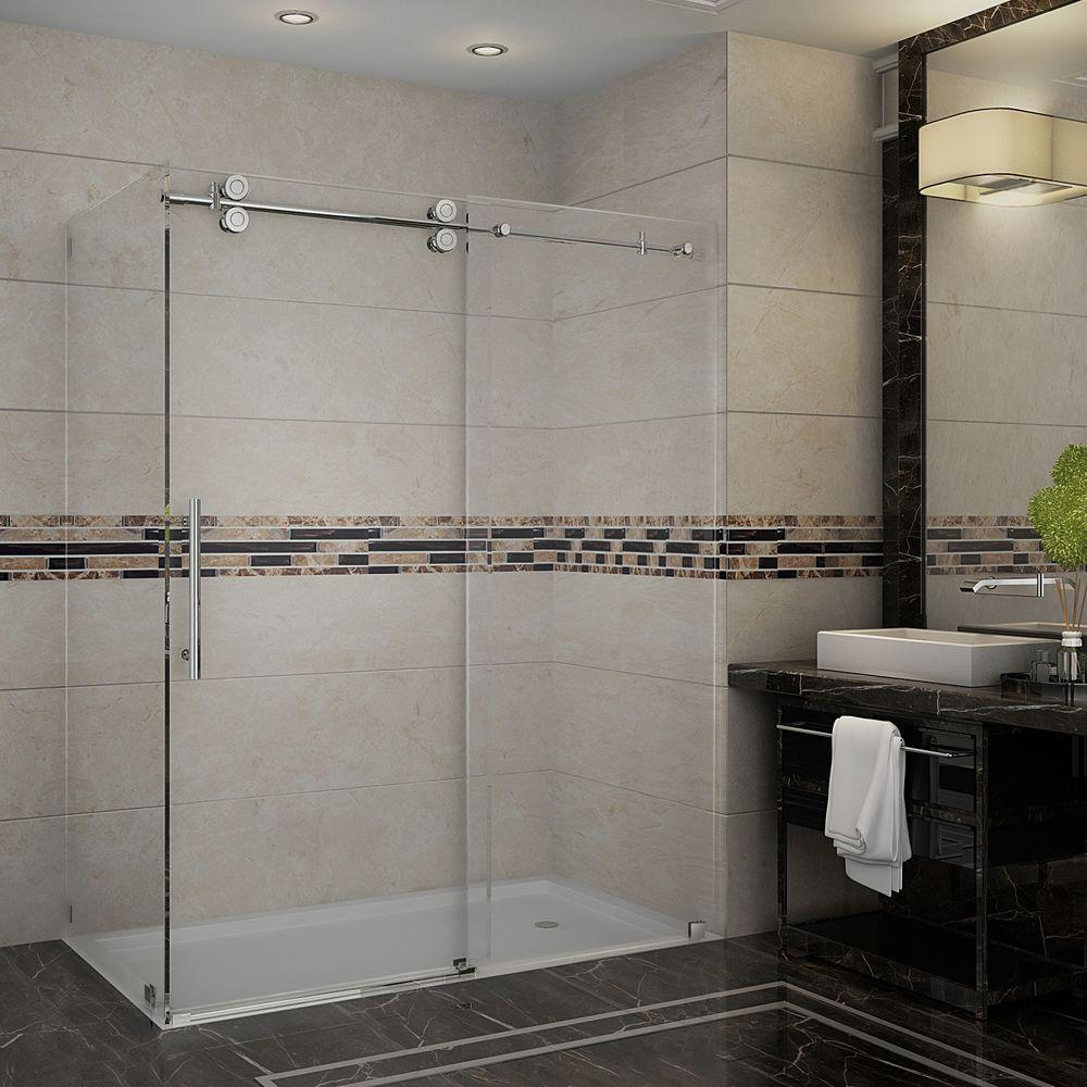 Aston Langham 60 in. x 33.8125 in. x 75 in. Completely Frameless ...