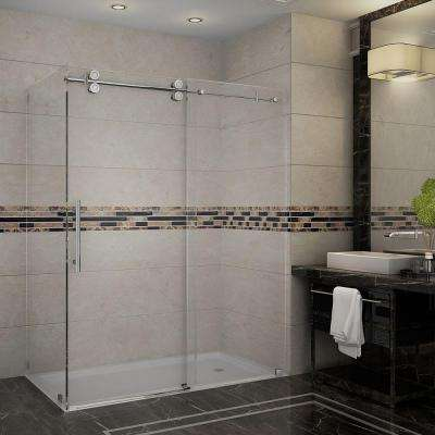 Langham 60 in. x 33.8125 in. x 75 in. Completely Frameless Shower Enclosure in Chrome with Clear Glass