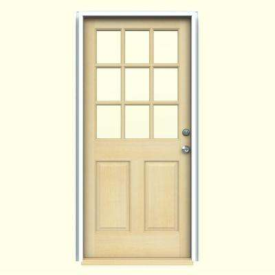 9 Lite Unfinished Dutch Wood Prehung Left Hand 30 x 80  Doors Front The Home Depot