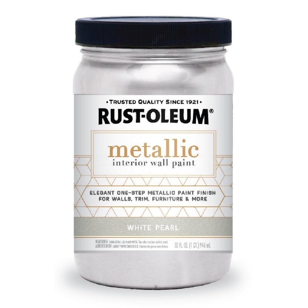 Rust Oleum 1 Qt White Pearl Metallic Interior Paint 2 Pack