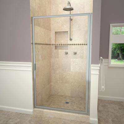1100 Series 28-3/8 in. W x 63-1/2 in. H Framed Pivot Shower Door in Brushed Nickel with Pull Handle and Clear Glass
