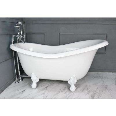 60 in. AcraStone Acrylic Slipper Clawfoot Non-Whirlpool Bathtub with Large Ball in Claw Feet in White Faucet in Chrome