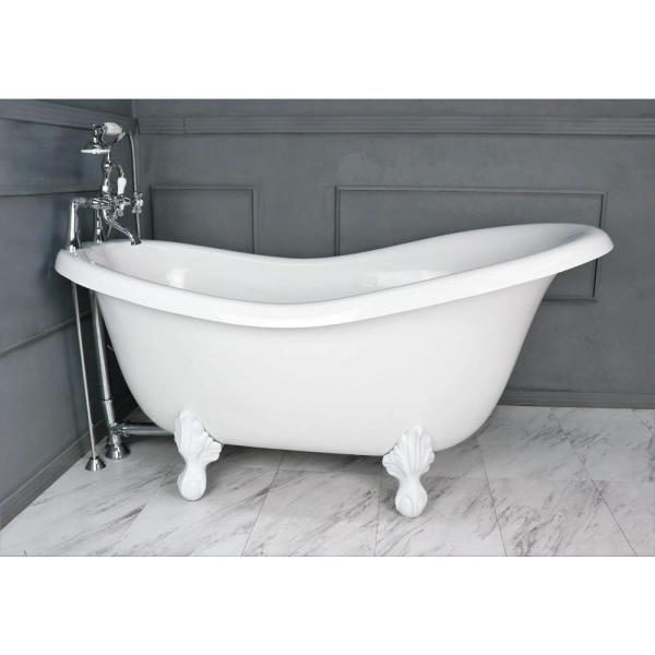 American Bath Factory 60 In Acrastone Acrylic Slipper Clawfoot Non Whirlpool Bathtub With Large Ball In Claw Feet In White Faucet In Chrome Ba Slc60 900a Wh The Home Depot
