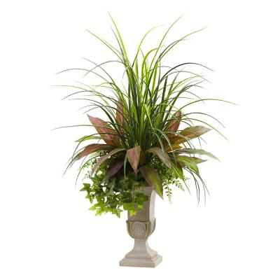 3 ft. Mixed Grass, Dracaena, Sage Ivy and Fern with Planter