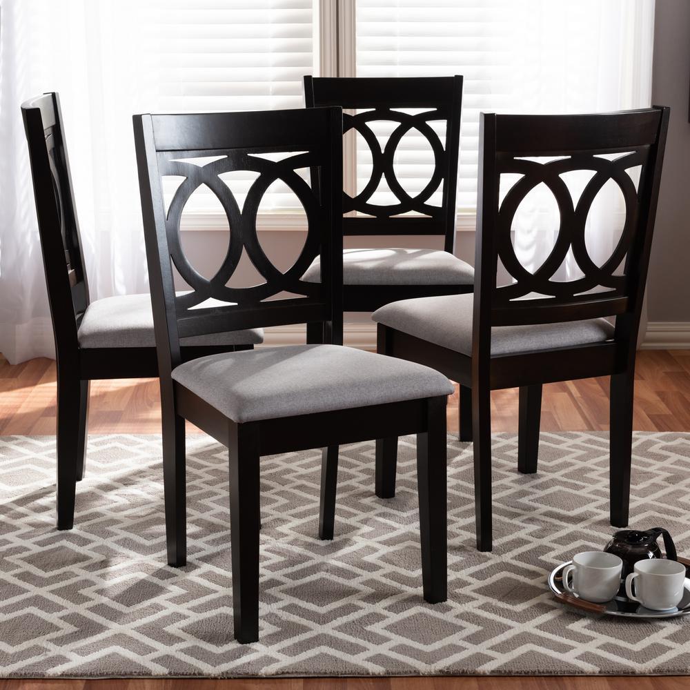 Baxton Studio Lenoir Gray and Espresso Fabric Dining Chair ...