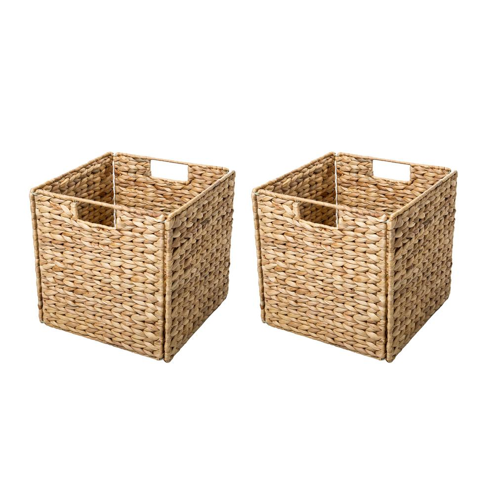 Trademark Innovations 12 In. X 12 In. Foldable Hyacinth Storage Basket With  Iron Wire