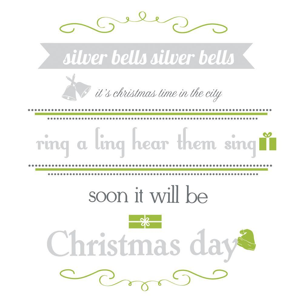 null 9 in. x 40 in. Silver Bells Quote 17-Piece Peel and Stick Wall Decals