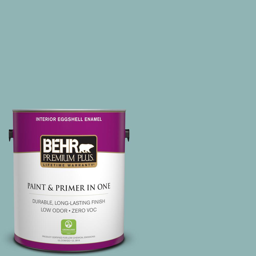 BEHR Premium Plus 1-gal. #BIC-24 Artful Aqua Eggshell Enamel Interior Paint