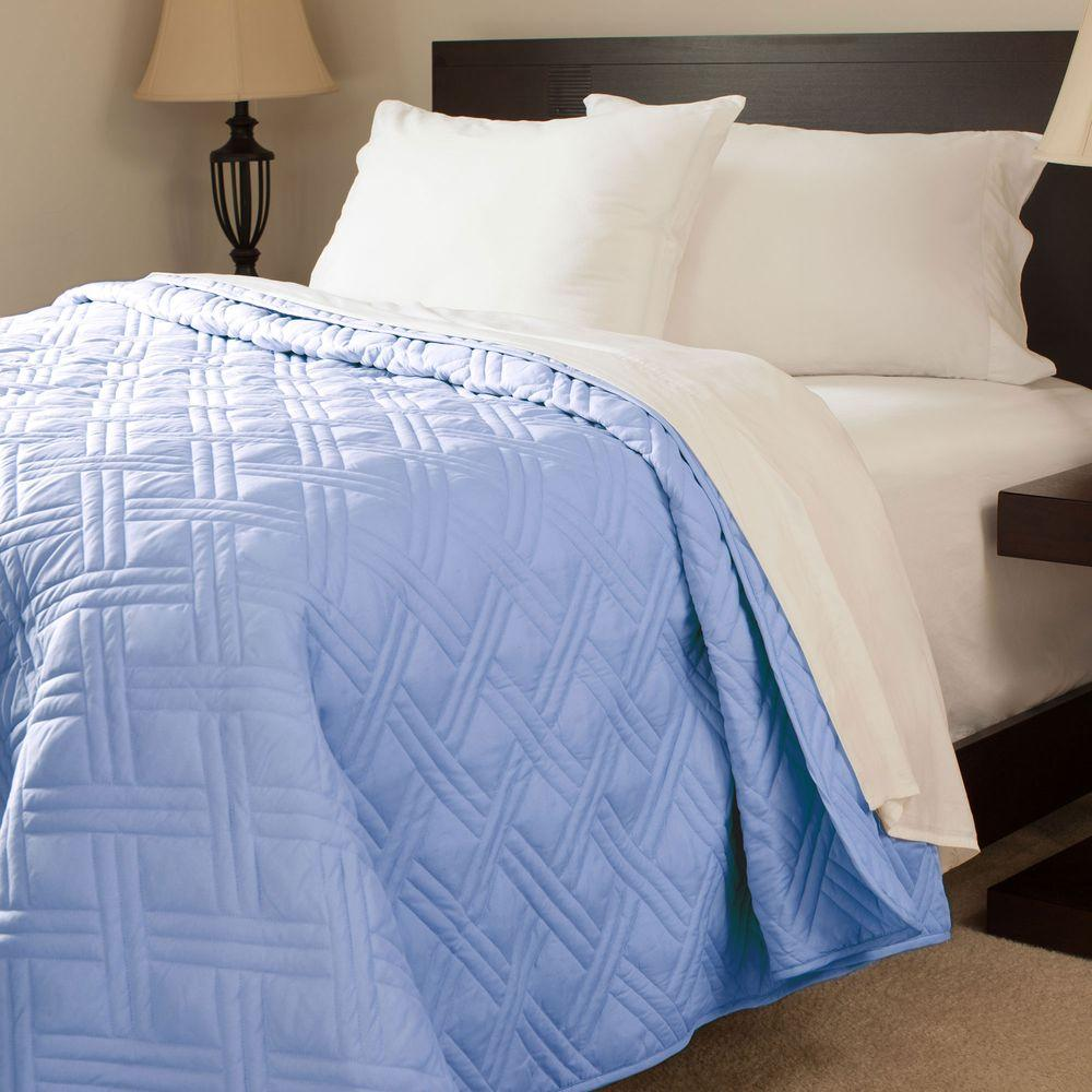 Solid Color Blue Twin Bed Quilt