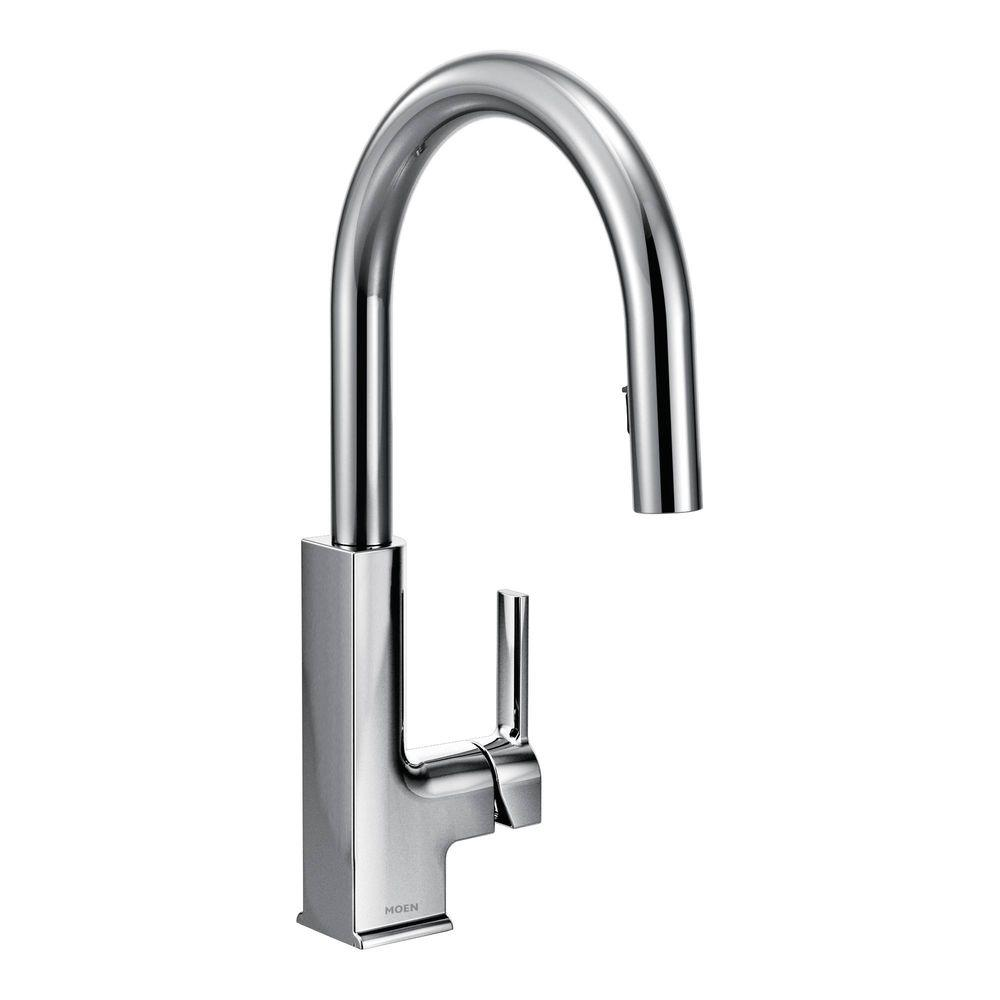 moen sto single handle pull down sprayer kitchen faucet with reflex in spot resist stainless s72308srs the home depot