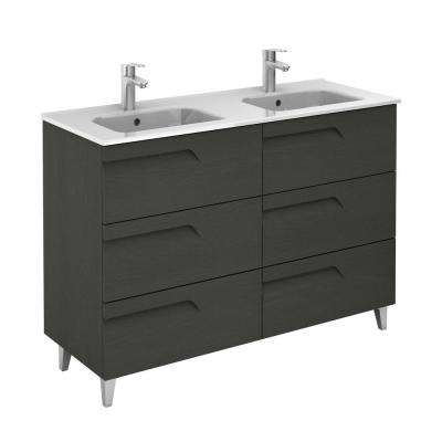 Vitale 48 in. W x 18 in. D 6-Drawers Vanity in Grey Nature with White Basin