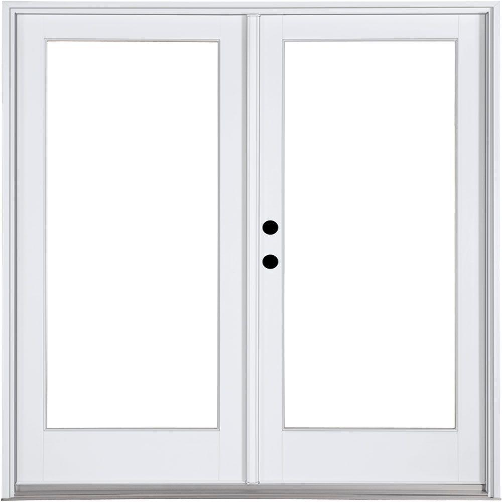 Mp doors 60 in x 80 in fiberglass smooth white right for White french doors exterior