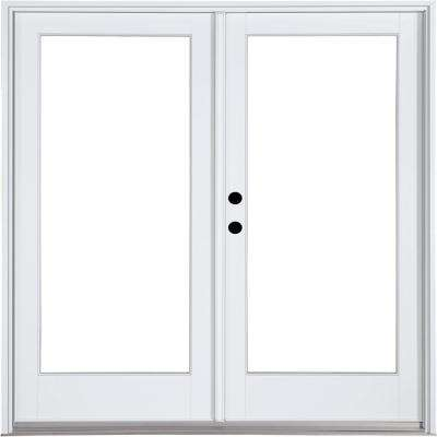 60 in. x 80 in. Fiberglass Smooth White Right-Hand Inswing Hinged Patio Door