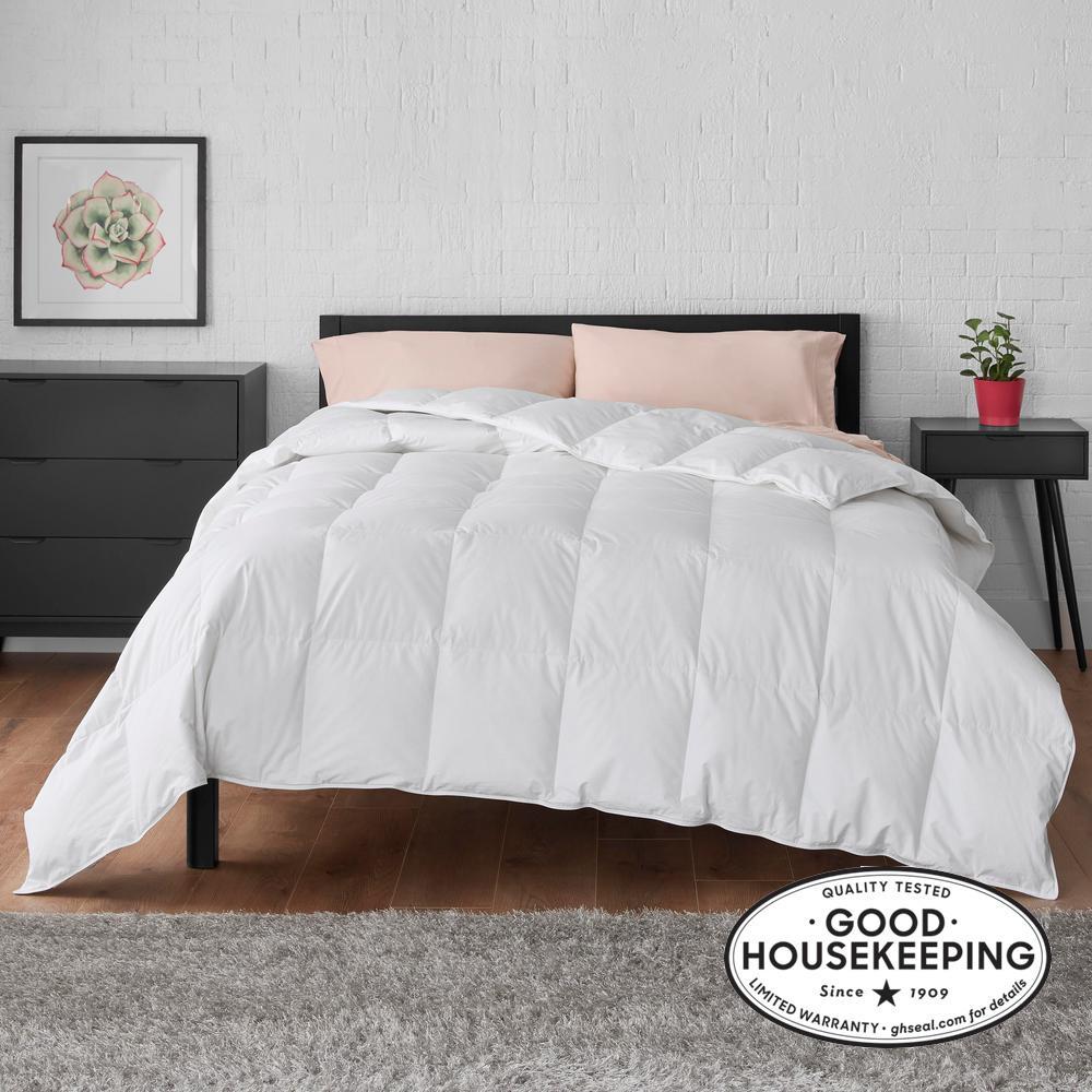All Season Down Feather Blend Cotton White Twin Comforter