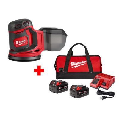 M18 18-Volt Lithium-Ion Cordless 5 in. Random Orbit Sander with Two 4.0 Ah Batteries, Charger and Contractor Bag