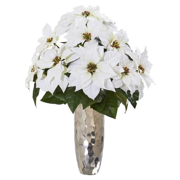 Nearly Natural 27in Poinsettia Artificial Arrangement In Silver Cylinder Vase A1110 The Home Depot