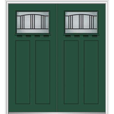 72 in. x 80 in. Madison Right-Hand Inswing 1/4-Lite Decorative Painted Fiberglass Smooth Prehung Front Door with Shelf