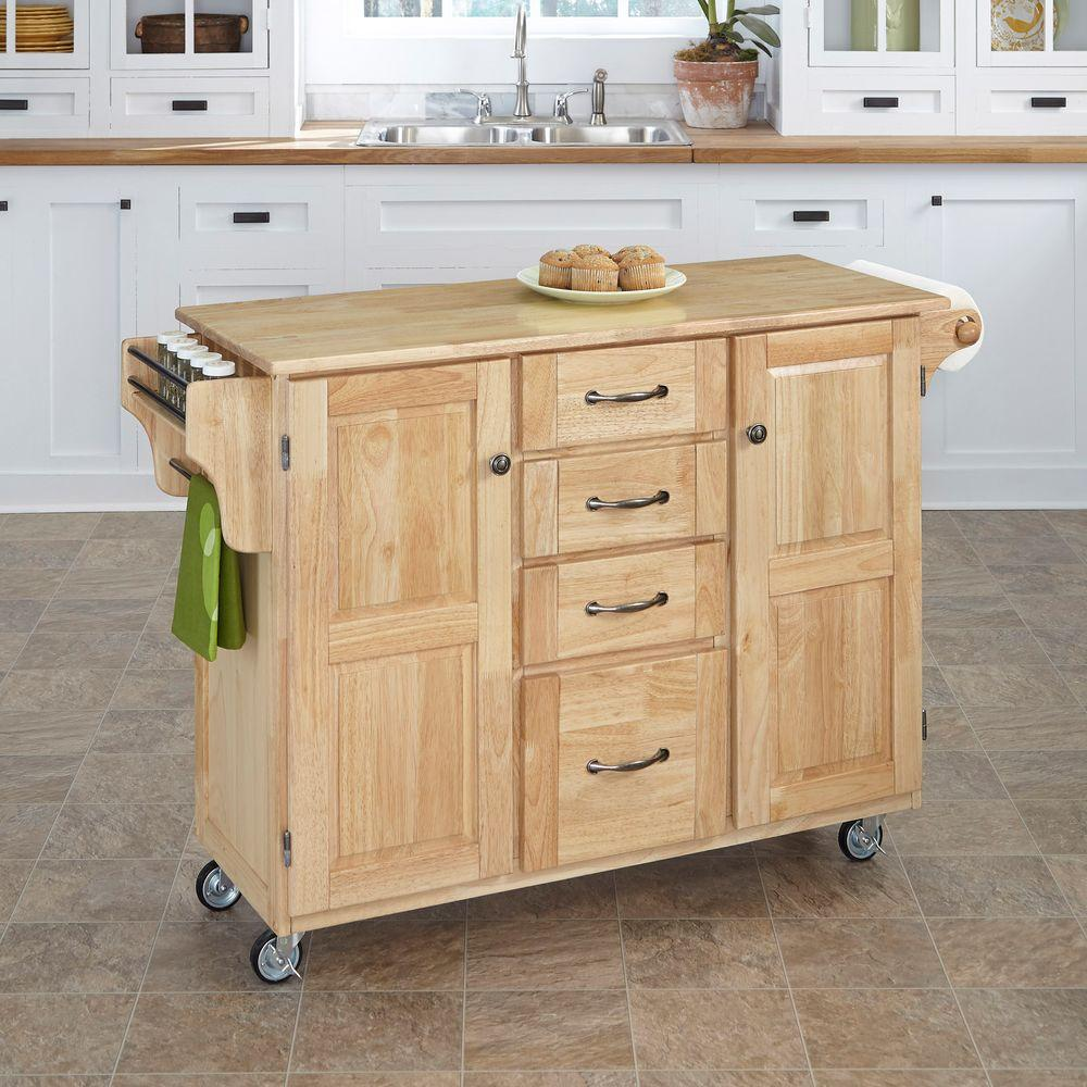 Home Styles Create-a-Cart Natural Kitchen Cart With Natural Wood Top