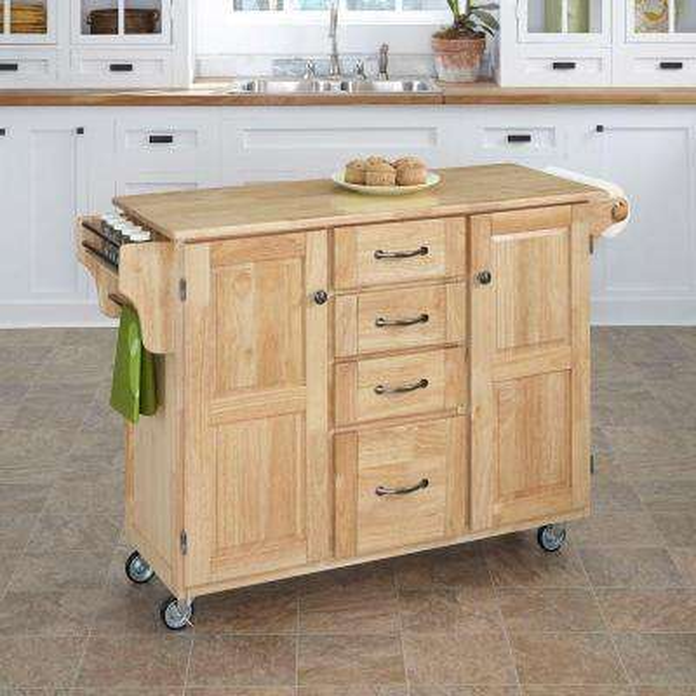 Create-a-Cart Natural Kitchen Cart With Natural Wood Top