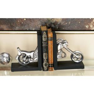 6 inch x 7 inch Black and Silver Motorcyle L-shaped Bookends by