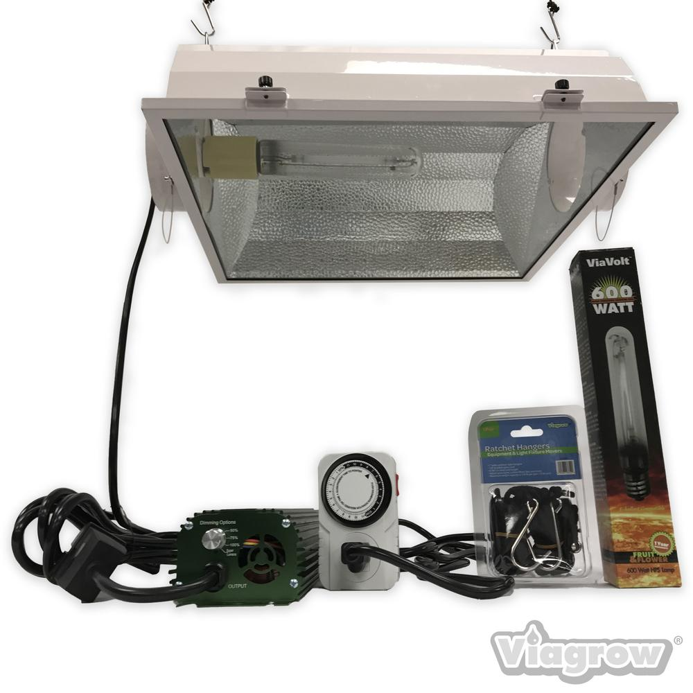 viavolt 600watt hps white grow light system with timerremote ballast and air cooled the home depot