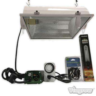 600-Watt HPS White Grow Light System with Timer/Remote Ballast and Air Cooled Reflector