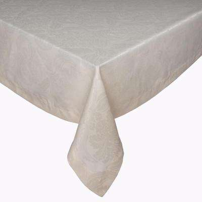 Istanbul 128 In. Cream Polyester Table For Rectangular Table