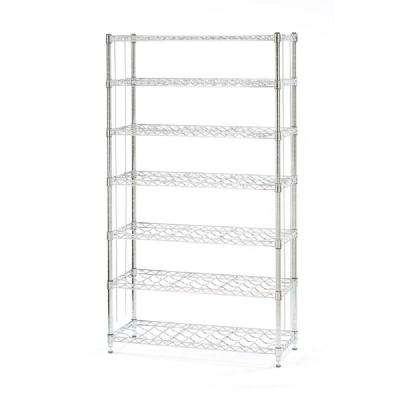 64 in. H x 36 in. W x 14 in. H 7-Tier Steel Wine Rack in Chrome