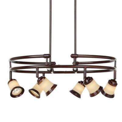 6-Light Antique Bronze Multi-Directional Chandelier with Frosted Glass Shades