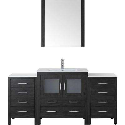Dior 68 in. W Bath Vanity in Zebra Gray with Ceramic Vanity Top in White with Square Basin and Mirror and Faucet