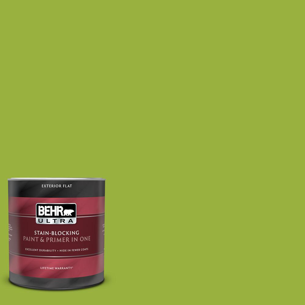 Behr Ultra 1 Qt 410b 7 Bamboo Leaf Flat Exterior Paint And Primer In One 485304 The Home Depot