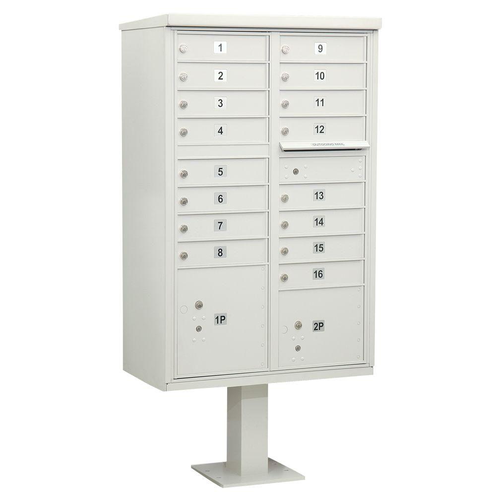 Salsbury Industries Gray USPS Access Cluster Box Unit with 16 A Size Doors and Pedestal