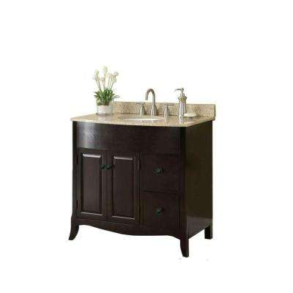 37 in. W x 35 in. H x 22-1/2 in. D Vanity in Espresso with Granite Vanity Top in Cream with White Basin