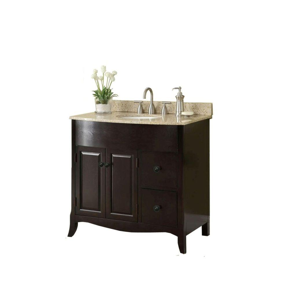 37 In W X 35 In H X 22 1 2 In D Vanity In Espresso With Granite Vanity Top In Cream With