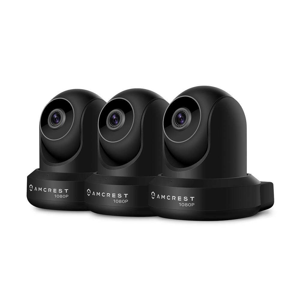 Amcrest ProHD Full HD 1,080P 2MP Wi-Fi/Wireless IP Security Camera IP2M-841B, Black (3-Pack)