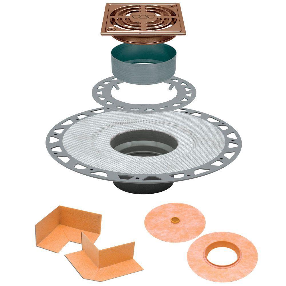 Kerdi-Drain 4 in. x 4 in. PVC Drain Kit in Brushed Copper/Bronze Anodized Aluminum