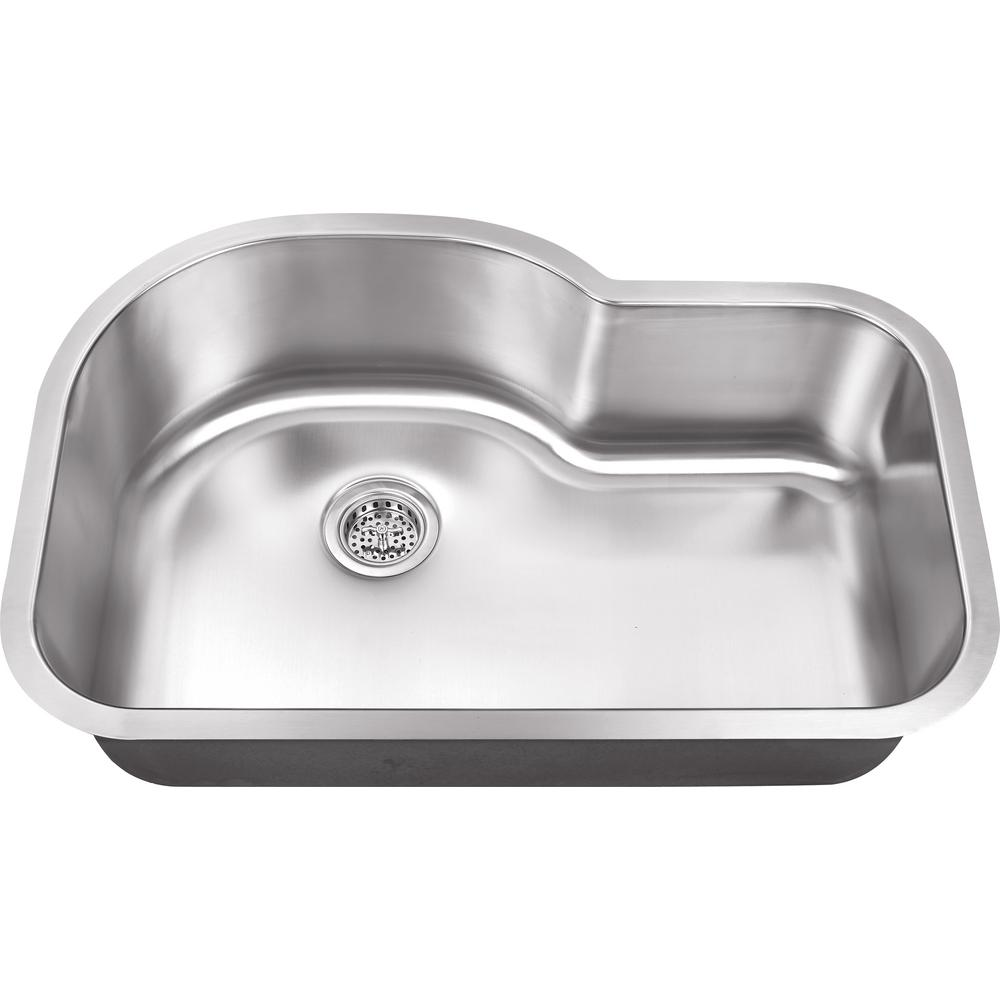 IPT Sink Company Undermount 32 in. 18-Gauge Stainless Steel Kitchen Sink in Brushed Stainless, Brushed Stainless Steel was $161.25 now $99.0 (39.0% off)