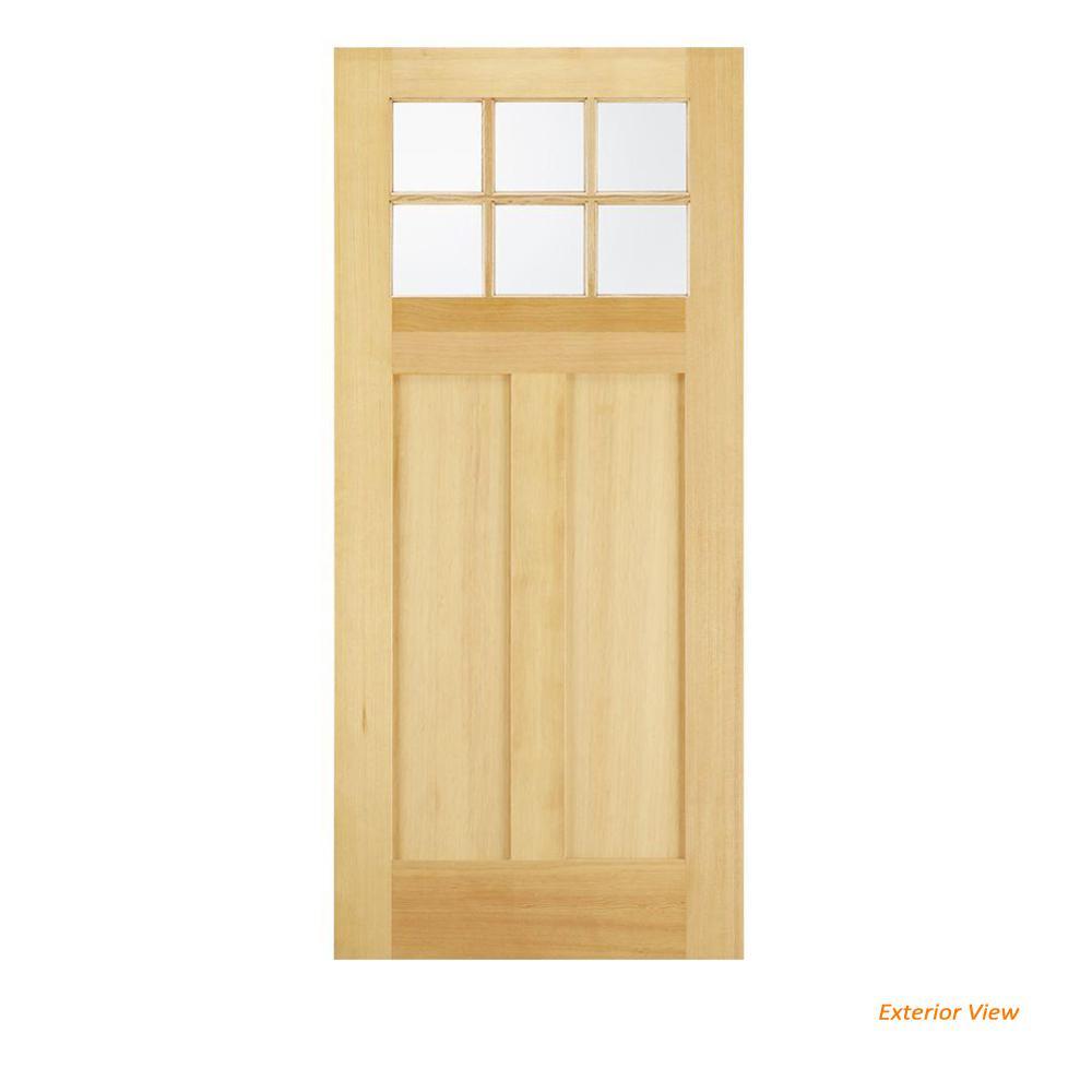 JELD-WEN 36 in  x 80 in  6 Lite Unfinished Wood Front Door Slab