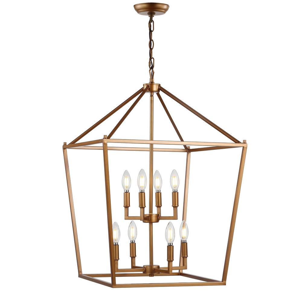 JONATHAN Y Pagoda 20 in  8-Bulb Antique Gold Lantern Metal LED Pendant